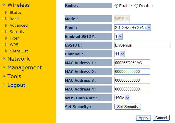 Настройка доступных MAC-адресов