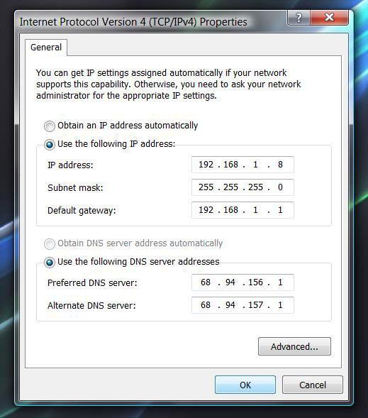 Присвоение статического IP-адреса для ПК