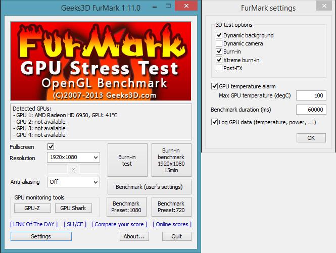 Запуск утилиты FurMark