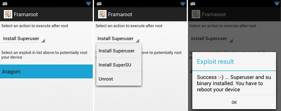 Популярное приложение Framaroot
