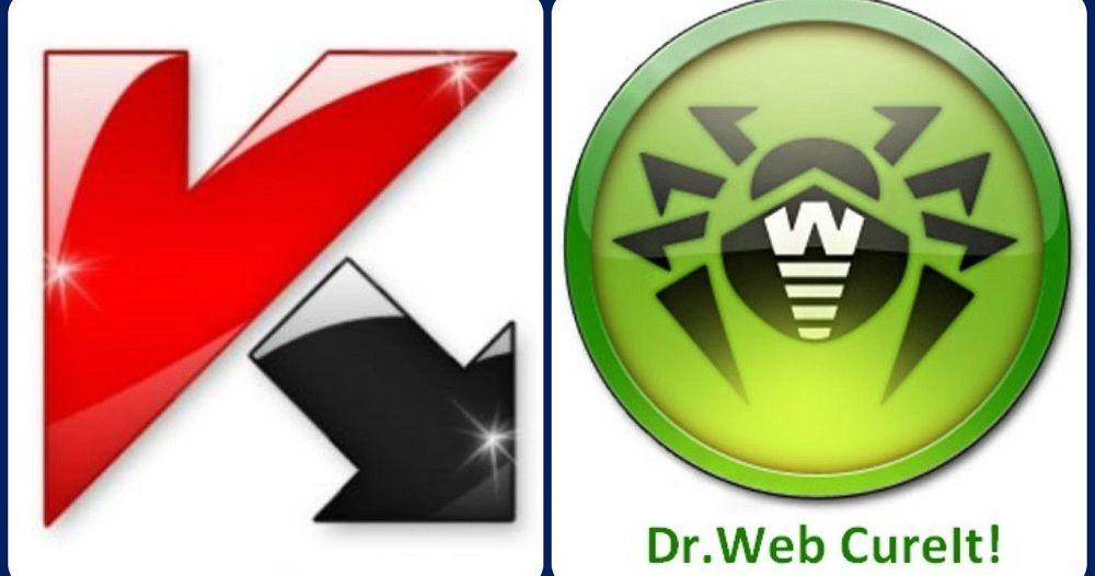 Логотипы Касперского и Доктор Веб