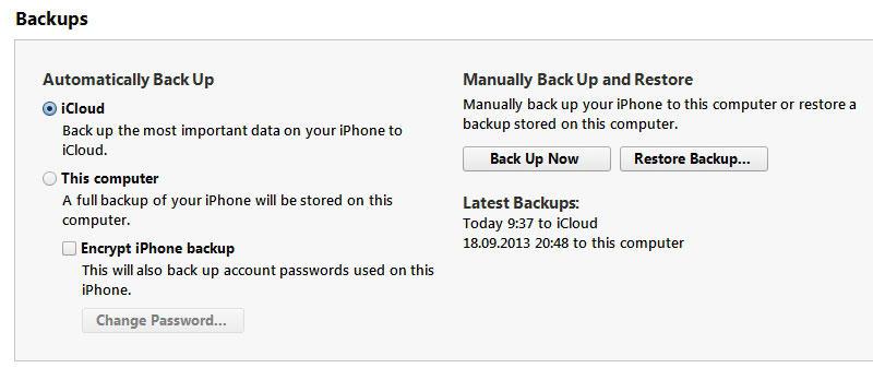 Создание копии в хранилище iCloud