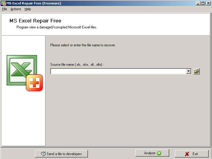 Приложение Repair Excel Free