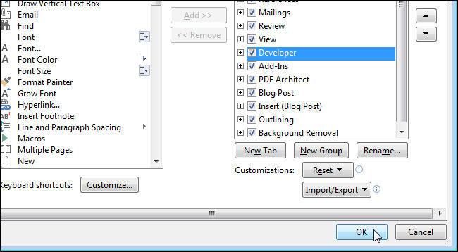 Настройка вкладок в редакторе Word