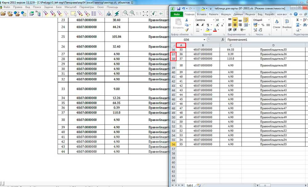 Пример структуры таблицы