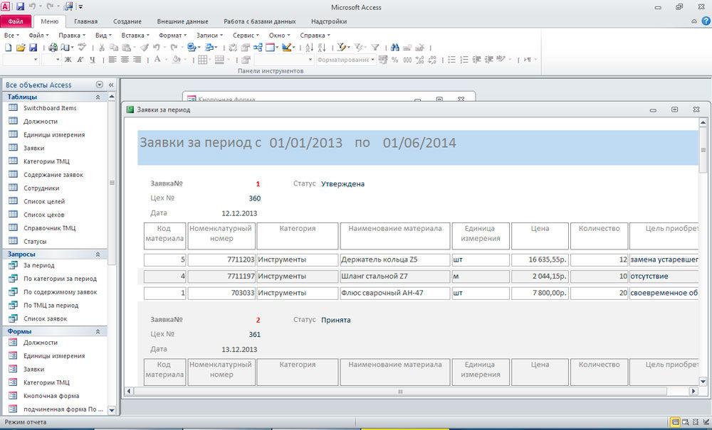 Пример отчёта в Access