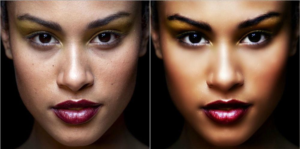 Лицо до и после редактирования