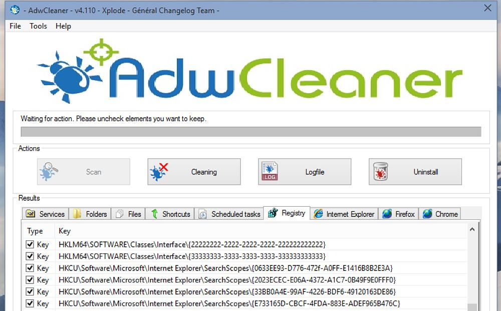 Использование AdwCleaner на практике