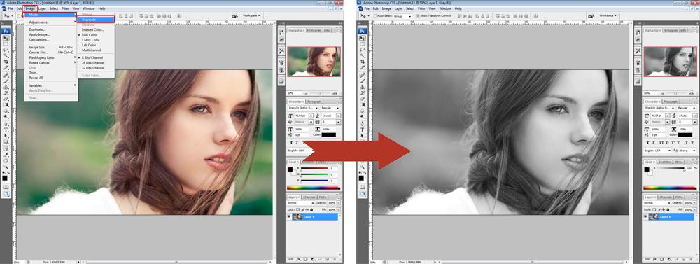 Обработка фото - градации серого
