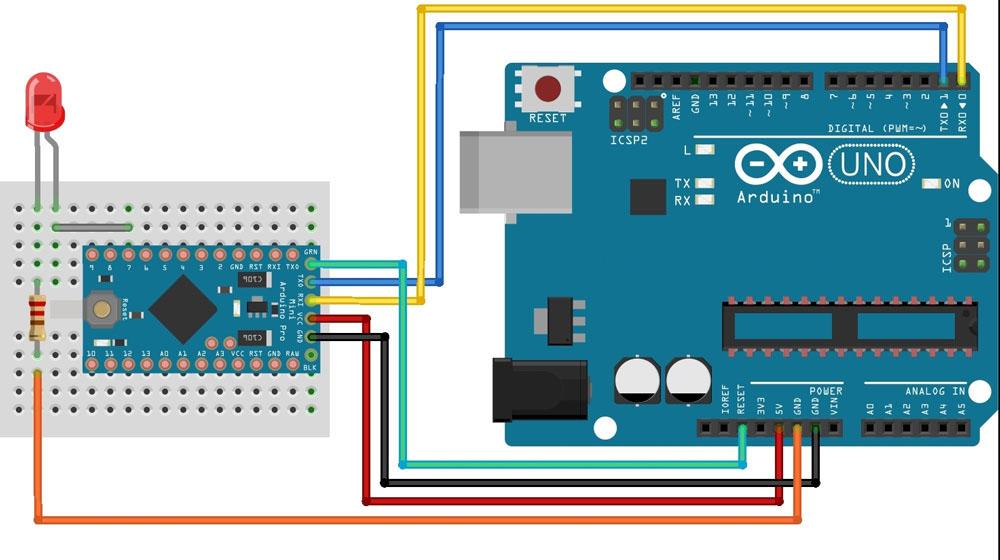 Схема перепрошивки с помощью Arduino Uno