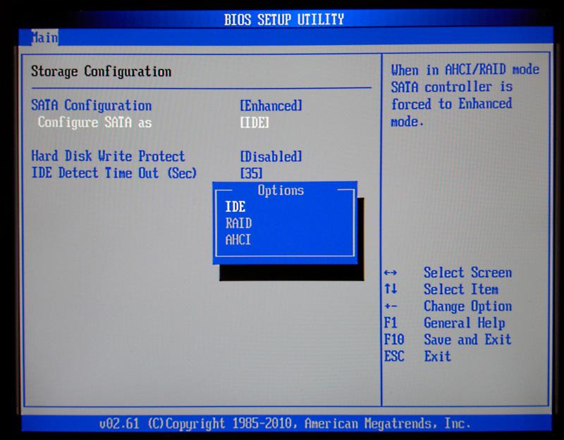 BIOS - SATA Configuration