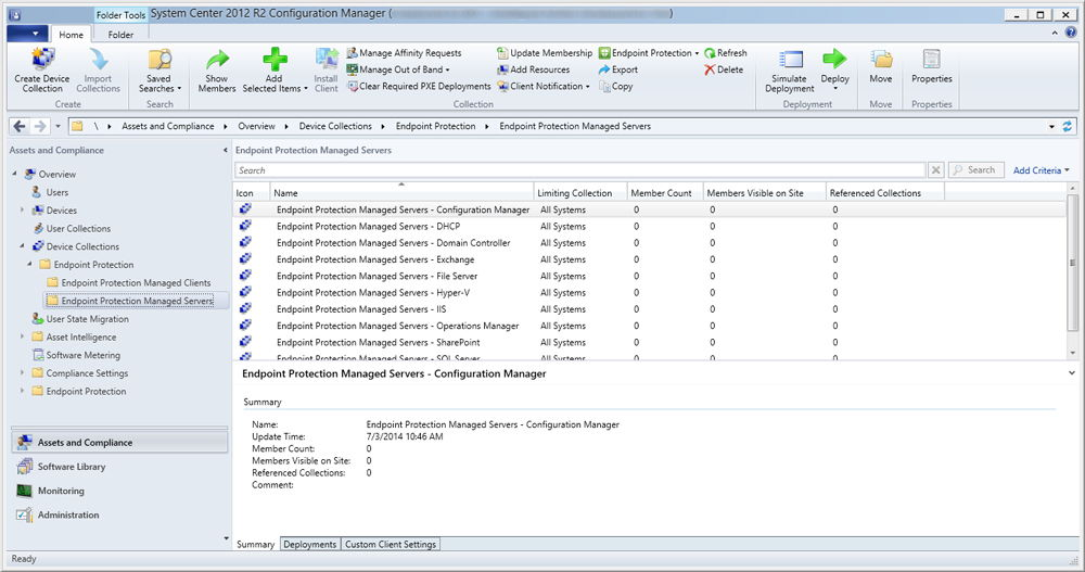 Скриншот System Center Configuration Manager 2012 r2