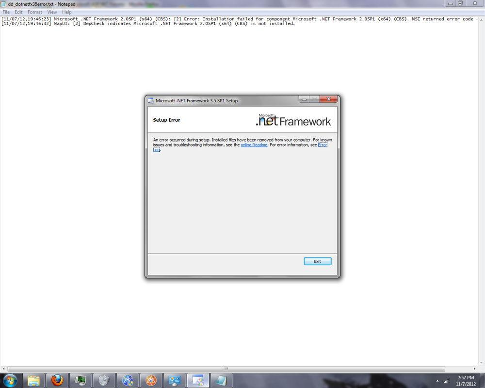 Ошибка NET.Framework скриншот
