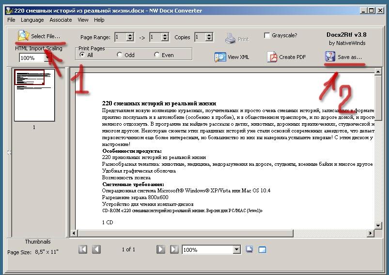 Интерфейс NW Docx Converter