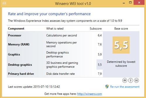 Winaero WEI tool скриншот