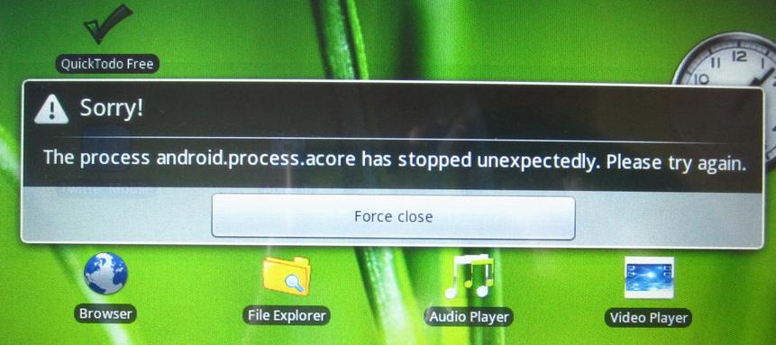 Ошибка android.process.acore