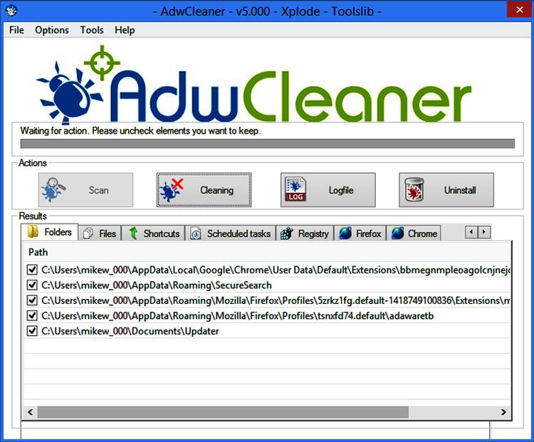Работа программы AWDCleaner