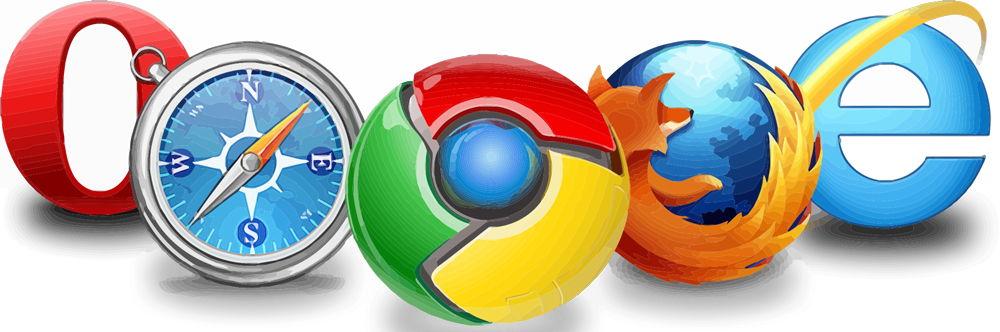 Opera, Safari, Google Chrome, Mozilla Firefox, Internet Explorer