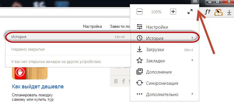 Посещенные сайты в Яндекс.браузере