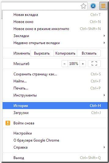 История посещений в Google Chrome