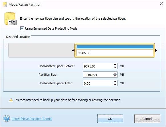 Изменение размера диска в MiniTool