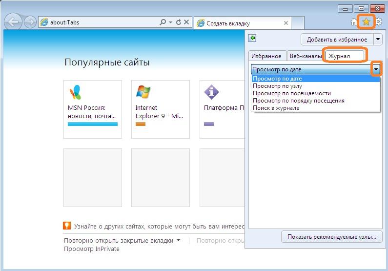Журнал в Internet Explorer