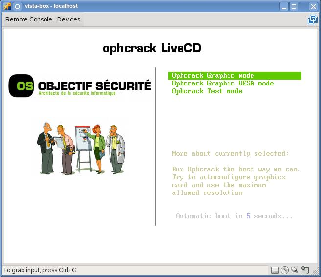 Утилита Ophcrack Windows