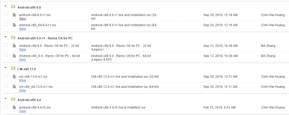 android-x86.org список ОС