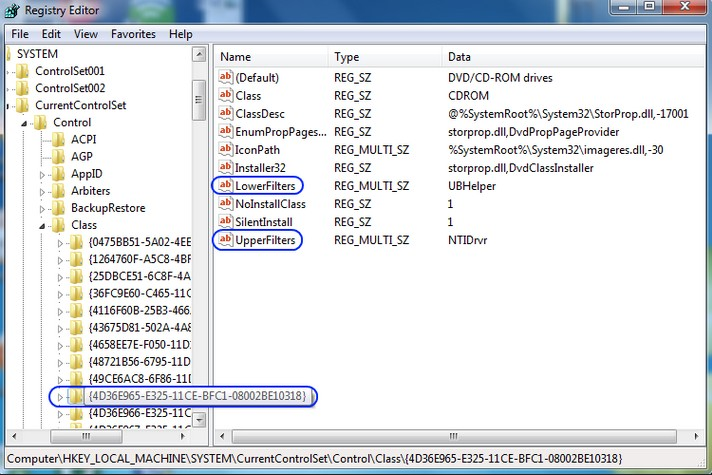 Файлы Upperfilters и Lowerfilters