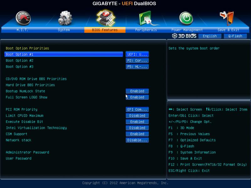 BIOS UEFI порядок загрузки