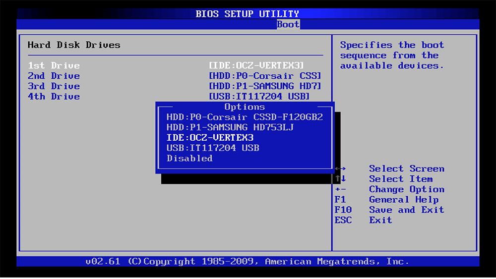 BIOS setup - выбор флешки
