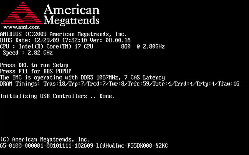 BIOS Стартовый экран