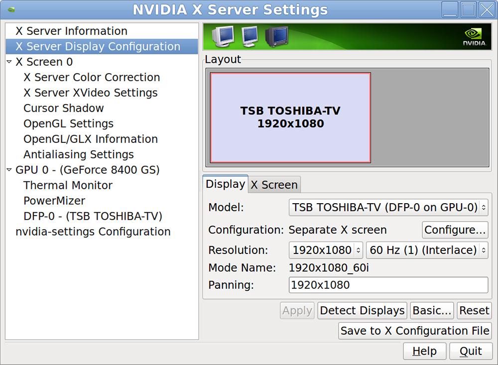 Nvidia x server configuration