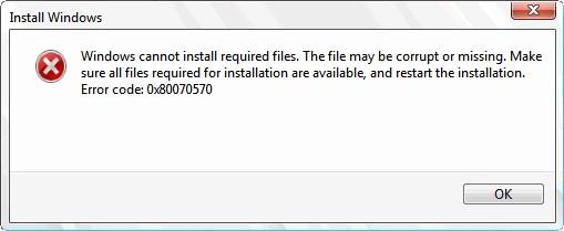 Ошибка 0x80070570 в Windows