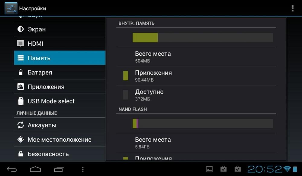 Память в планшете Android