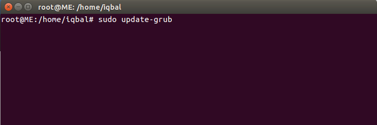 Команда sudo update-grub