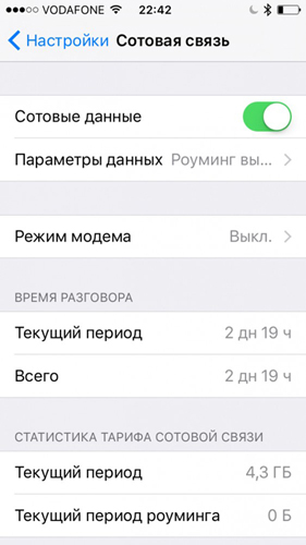 Настройки сотовой связи на Iphone