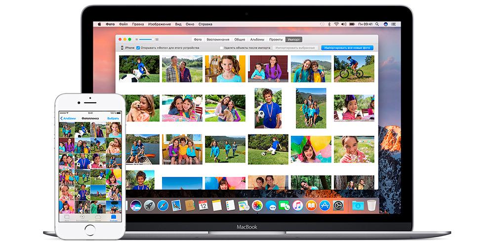 Фото с iPhone на MacBook