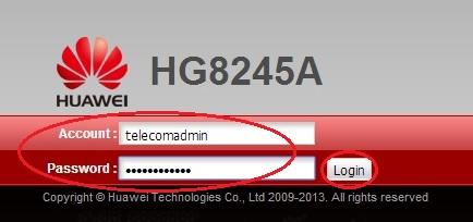 Вход в административную панель Huawei