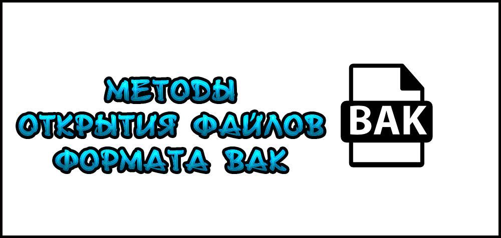 Открытие форматаBAK