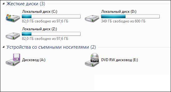 Локальные диски в Windows