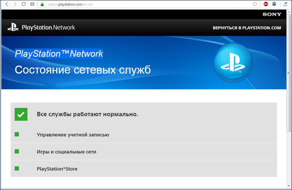 Состояние сетевых служб в PlayStation Network