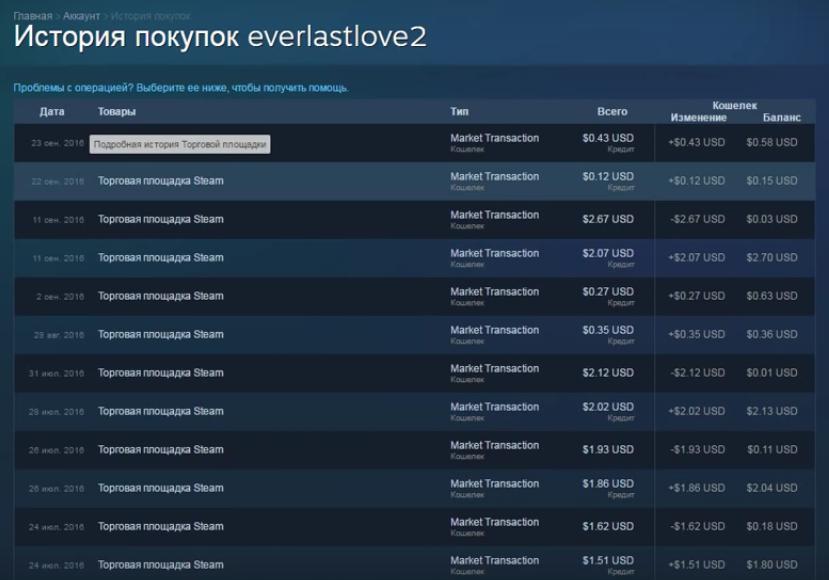 Перечень понесенных трат в Steam