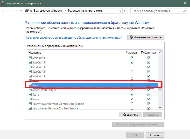 Разрешение на использование Steam в брандмауере Windows