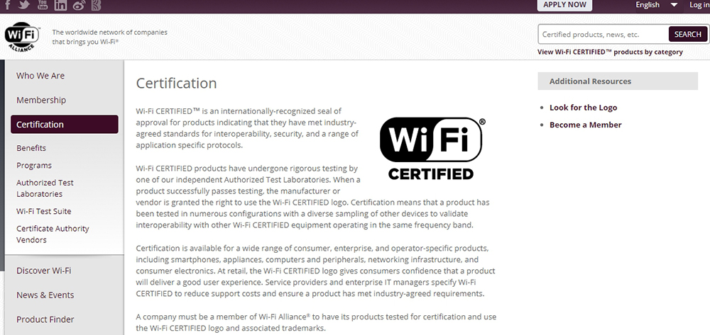Сертификация на сайте Wi-Fi Alliance
