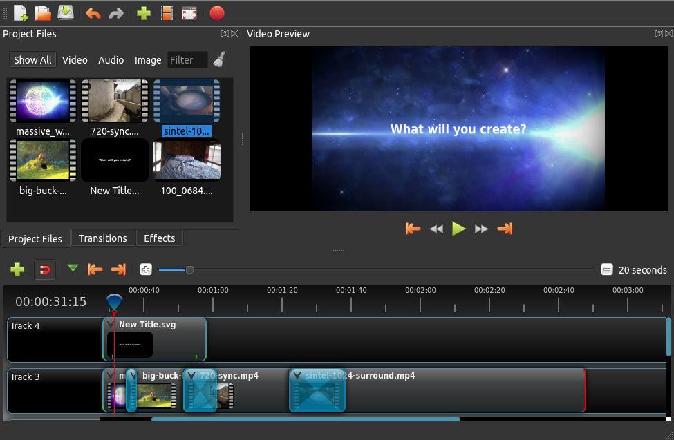 Работа вOpenShot Video Editor