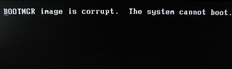 ОшибкаBOOTMGR image is corrupt