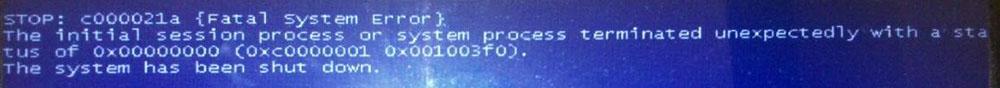 Сообщение об ошибкеSTOPc000021a