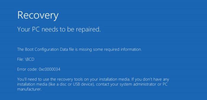 Ошибка 0xc0000034 в Windows